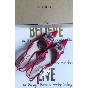 ZARA Slingback Leather Heels with Brooch